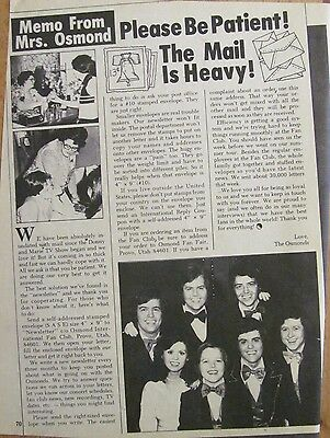 Osmonds, Donny Osmond, Full Page Vintage Clipping, Brothers