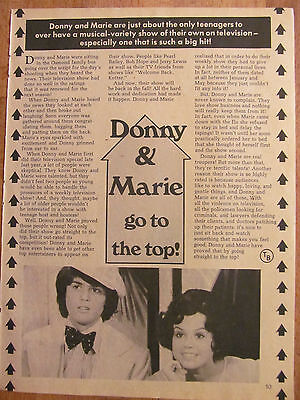 Donny and Marie Osmond, Full Page Vintage Clipping, Osmonds Brothers, Alan Wayne