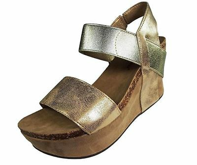 f056530b1ca9 Pierre Dumas  Hester 1  Women s Gold Strappy Wedge Sandals ...