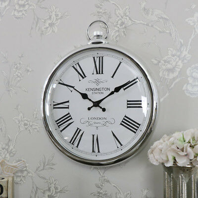 Large silver vintage style wall hanging fob clock shabby vintage chic home gift