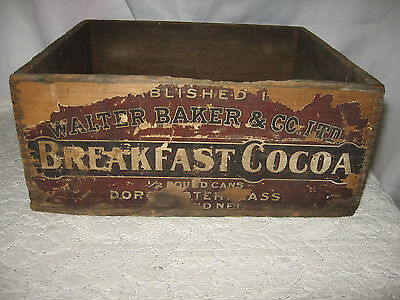 Primitive Walter Baker & Co Breakfast Cocoa Wood Box Finger Joint Partial Label