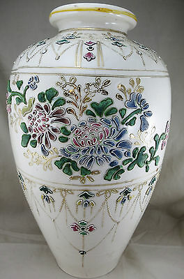 "12.5"" Nippon Vase Applied Enamelled Floral detail c 1910 -valued by Eric Knowles"