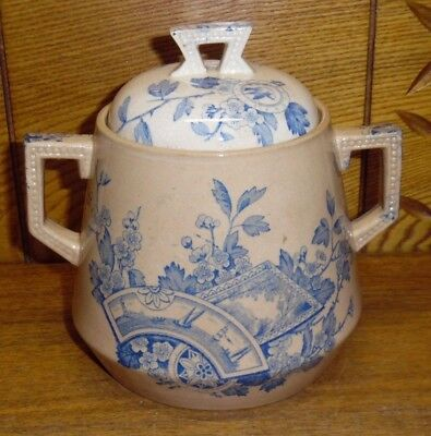 Antique HP&M Holmes Plant & Mayd Stone China Sugar Bowl - Seine Blue - Stained