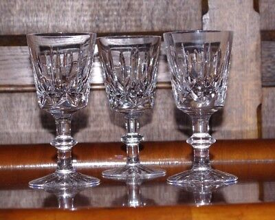 3 Royal Brierley Ascot Cut Crystal Sherry Port Cordial Liqueur Glasses