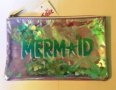 Justice Just Shine Holographic MERMAID Shaky Cosmetic Bag NWT