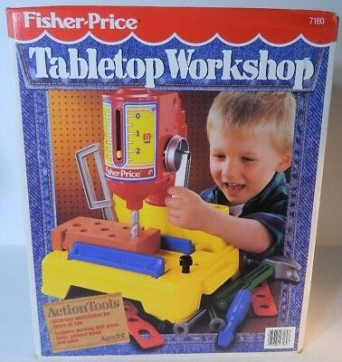 Vintage FISHER PRICE 1992 Tabletop Workshop box lot tools pretend NEW OLD STOCK