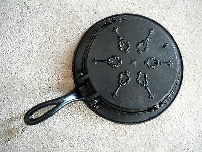 PHILADA ANTIQUE ORNATE CAST IRON WAFFLE MAKER #s 9 & 10 - HEARTS DIAMONDS CIRCLE