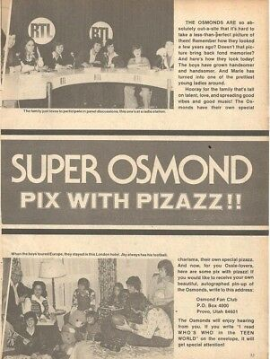 The Osmond Brothers, MASH, Full Page Vintage Clipping, Osmonds, Donny