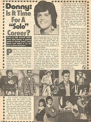 Donny Osmond, The Osmond Brothers, Full Page Vintage Clipping, Osmonds