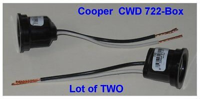 Lot of Two (2) Cooper SOCKET WITH PIGTAIL - 600V 250V, New, CWD-722-BOX