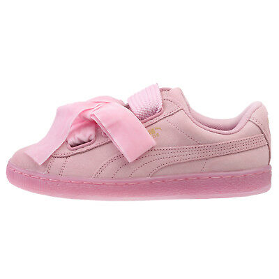 5c9855aeeee2 Puma Suede Heart Reset Womens 363229-02 Prism Pink Woven Bow Shoes Size 7.5