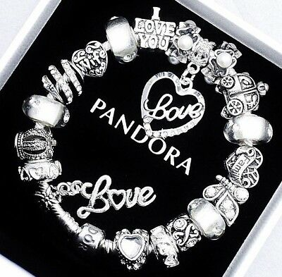 Authentic Pandora Silver Bracelet with MOM FAMILY WIFE LOVE European Charms