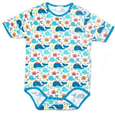 "Adult bodysuit "" baby whales"" print snap crotch"