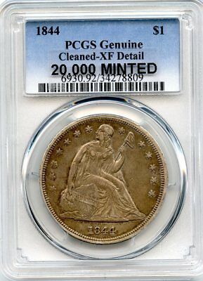 C9381- 1844 Seated Liberty Dollar Pcgs Xf40 Details - 20,000 Minted