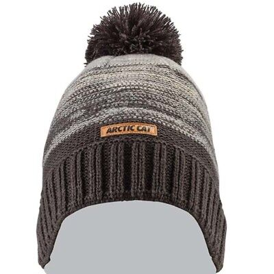 Arctic Cat Charcoal Noise with Pom Marled Knit Beanie - Gray White - 5283-116