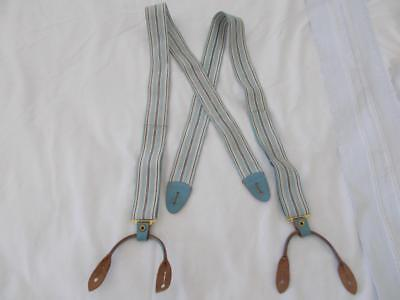 Antique vintage BLUE STRIPE Men's SUSPENDERS LEATHER Attachments Very old