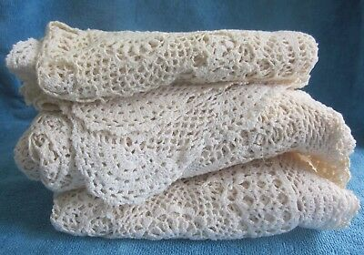 3 SQ cream crochet cotton TABLE CLOTHS discolouration craft or use dreamcatchers