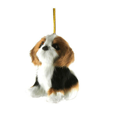 Beagle Plush Dog Christmas Ornaments, White/Brown, 4-Inch