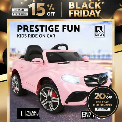 RIGO Kids Ride On Car Electric Black Toy Battery 12V Remote Control Children