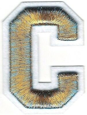 "2 3/8"" x 2 1/2"" Metallic Gold Blue White Felt 3D Raised Letter C Patch"