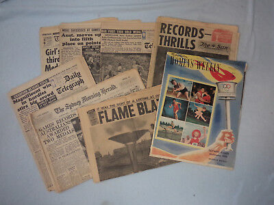 #bb6.  Lot Of Eight (8) 1956 Melbourne Olympic Games Magazine & Newspapers