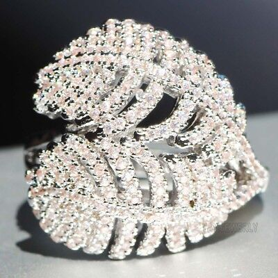 Leaf shape White Sapphire 925 Silver Filled Birthstone Engagement Wedding Rings