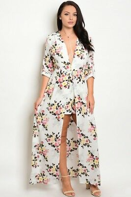 c0aadd68651 NWT WOMEN S PLUS Size YELLOW FLORAL PLUS SIZE ROMPER 1X Beautiful ...
