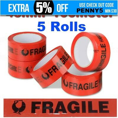 5 Rolls RED & Black Fragile Tape 100M x 45mm 100meter Packaging Packing Tape