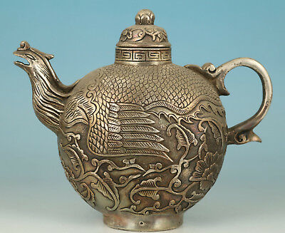Chinese Old White Copper Handmade Carved Phoenix Statue Tea Pot