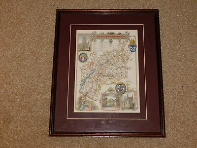 Antique Reproduction Map Of Gloucestershire, Mounted & Framed