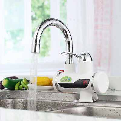 360° Rotatable Electric Instant Heater Faucet Mixer Tap Fast Water Heating Hot