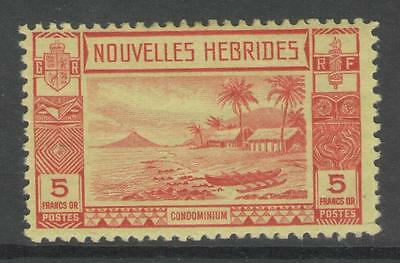 NEW HEBRIDES (FRENCH) SGF63 1938 5f RED/YELLOW MTD MINT