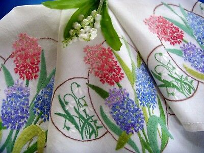 Gorgeous Vintage Hand Embroidered Linen Tablecloth Hyacinths And Snowdrops