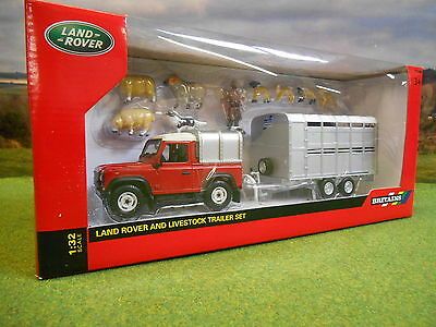 Britains Red Landrover Defender Ifor Williams Trailer & Sheep Set 1/32 43138A1