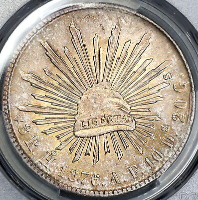 1876-Ho PCGS MS 62 MEXICO Silver 8 Reales Rare Coin POP 1/0 (17112401D)
