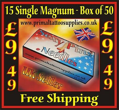 Tattoo Needles 15 Mag1  box 50 -  (Tattoo Supplies - NO Disposable Tips - Grips)