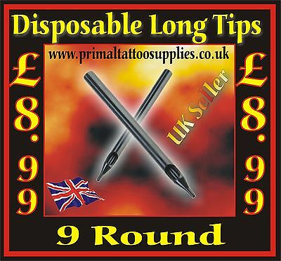 50 disposable tips 9 Round  - (Tattoo Supplies - Grips - Inks - Tattoo Needles)