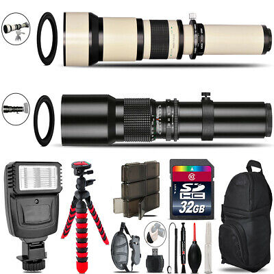 "500mm-1300mm Telephoto Lens for D3100 D3200 + Flash + 72"" Monopad - 32GB Kit"