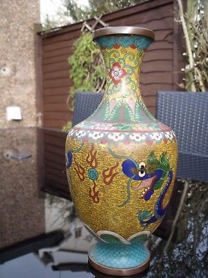 ANTIQUE CHINESE CLOISONNE 5 CLAW DRAGON VASE with FLAMING PEARL  c1900