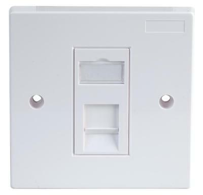 1-Gang Single RJ45 Socket Cat5e Faceplate, White