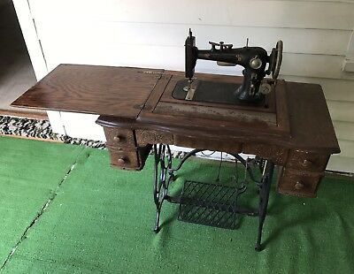 Antique Sewing Machine With Wood Stand Table Sew Well Steinway
