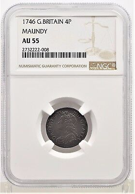 1746 NGC AU55 Great Britain Maundy 4 Pence (b144.35)