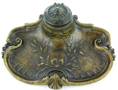 Stunning Art Nouveau Cold Painted Bronze Desk Set / Ink Well With Original Well.
