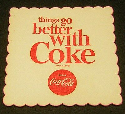 "VINTAGE COCA COLA 1960's Coaster ""Things go better with Coke"""