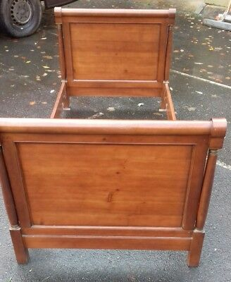 Gorgeous Antique French Early 20Thc Solid Wood Acajou Empire Single Bed