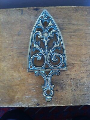 NICE DECORATIVE ANTIQUE BRASS  IRON STAND / TRIVET 8.6 by 3.8 inches