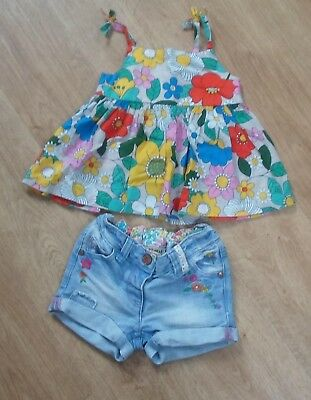 NEXT Baby Girls Summer Outfit Floral Strappy Top & Denim Shorts 12-18 months