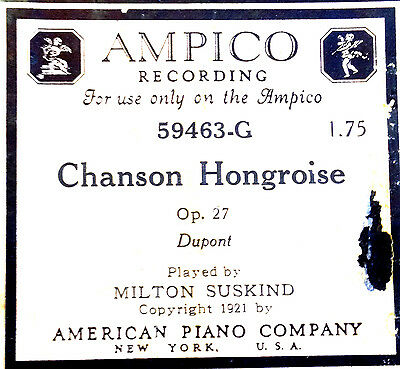 AMPICO Dupont CHANSON HONGROISE Milton Suskind 59463-G Player Piano Roll