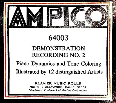 AMPICO ReCut DEMONSTRATION RECORDING No. 2 Dynamics Tone 64003 Player Piano Roll