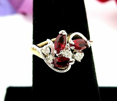 RED MARQUISE & CLEAR RHINESTONES Cocktail RING Vintage Goldtone 14KT GE Size 7